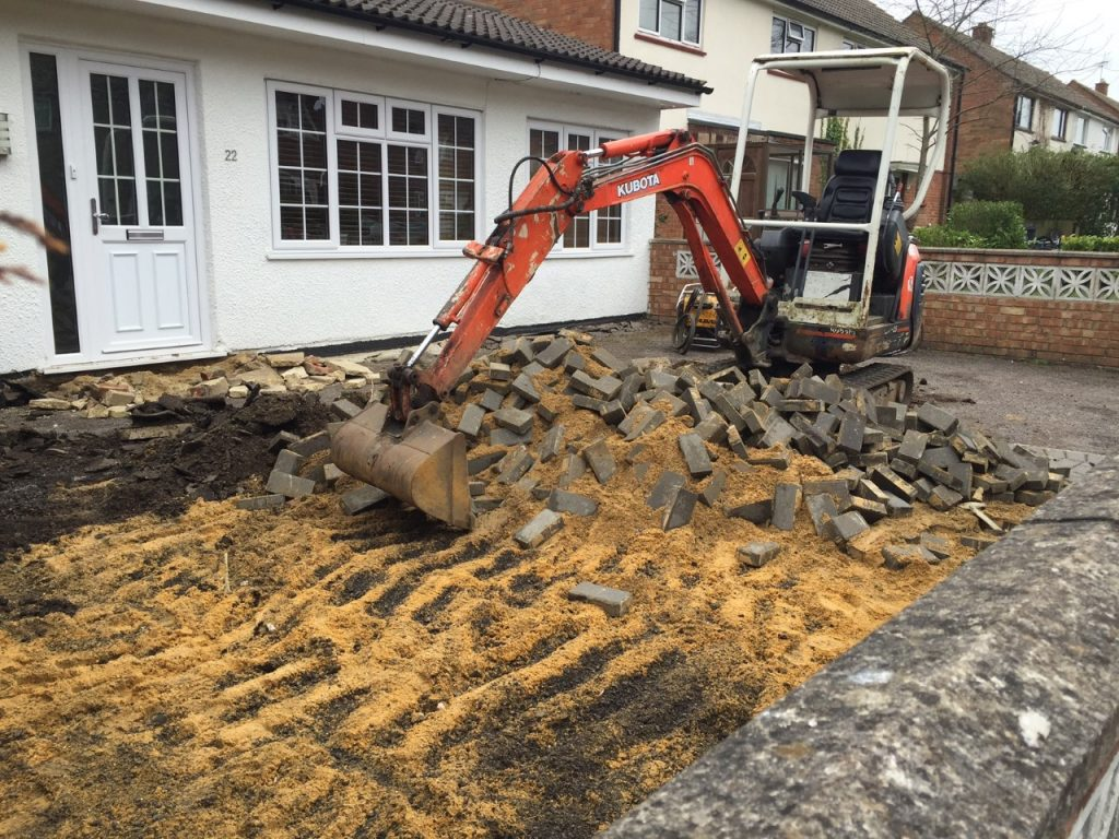 Work on a new driveway in Guildford